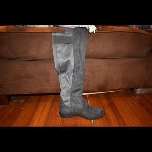 Gray Knee High Boots